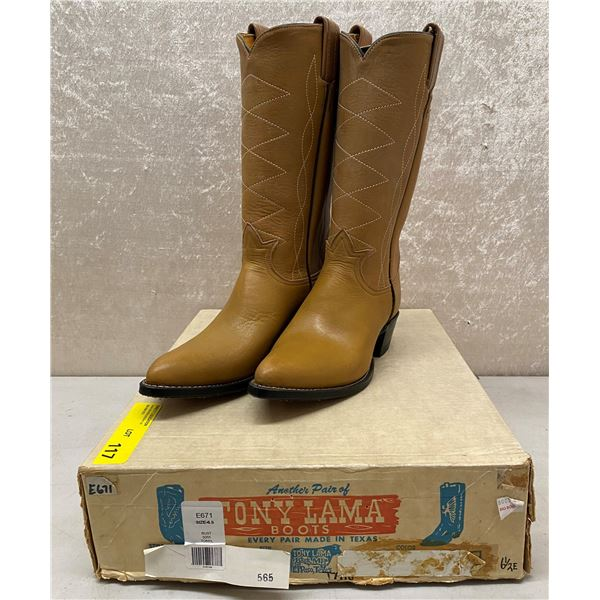 Pair of Tony Lama rust brown cowboy boots size 6 1/2 (NOS)