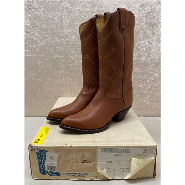 Pair of Tony Lama veal autum rust cowboy boots size 7 (NOS)