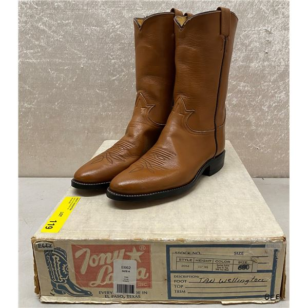 Pair of Tony Lama tan wellington cowboy boots size 8 (NOS)