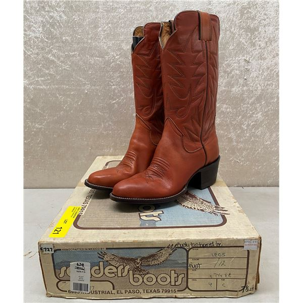 Pair of Sanders rusty tan tapered toe cowboy boots size 7 1/2