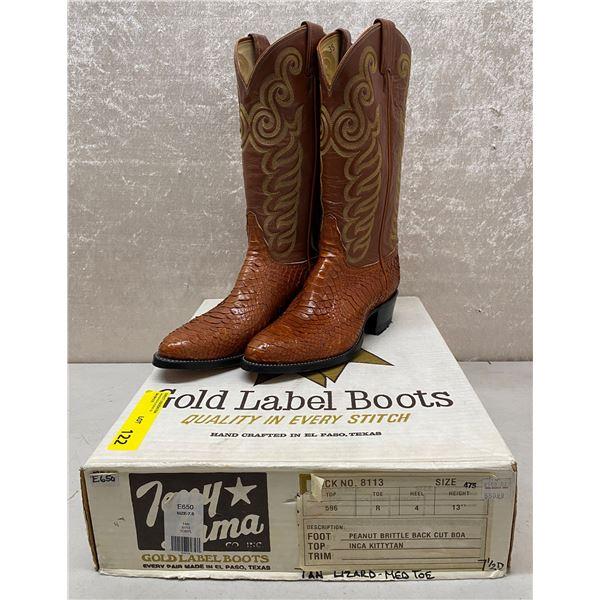 Pair of Tony Lama tan lizard/medium toe cowboy boots size 7 1/2 (NOS)