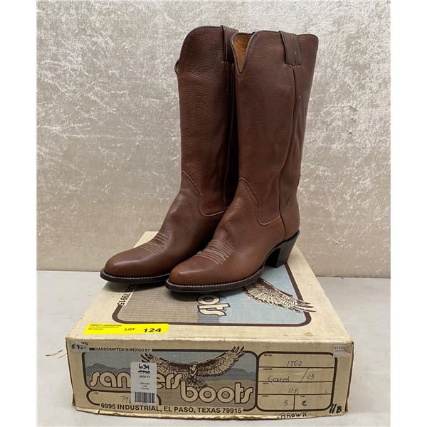 Pair of Sanders brown cowboy boots size 11 (NOS)