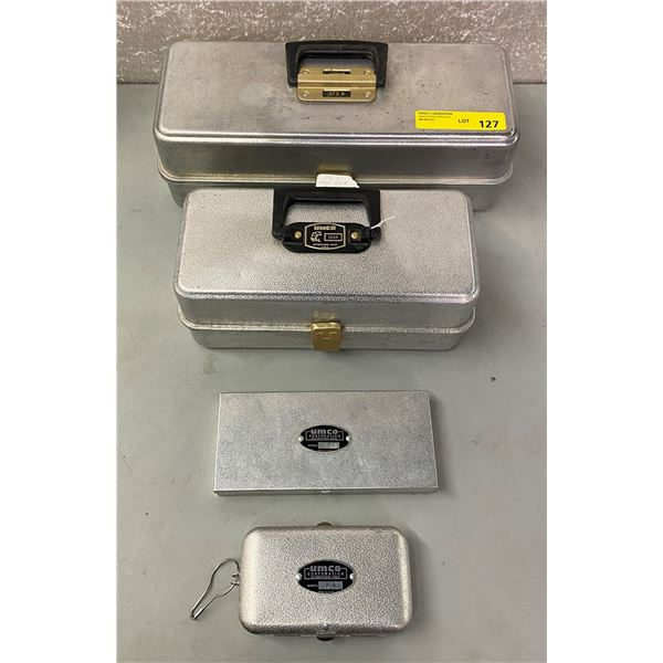 Set of 4 Umco vintage tackle boxes and lure boxes (rust free aluminum)