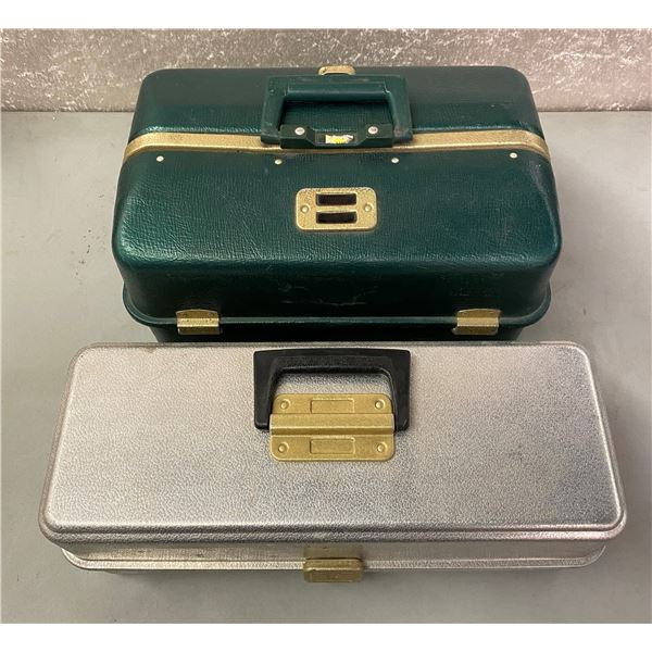 2 Umco vintage tackle boxes green and gold (rust free aluminum)