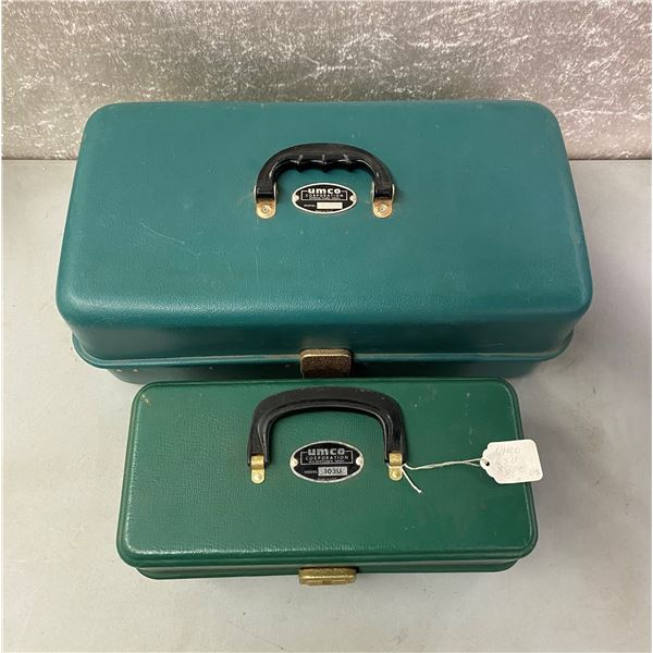 2 Umco vintage tackle boxes turquoise and green