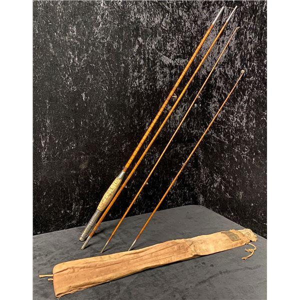 H.Stork munchen 4pc. split cane antique fishing rod (two tips)