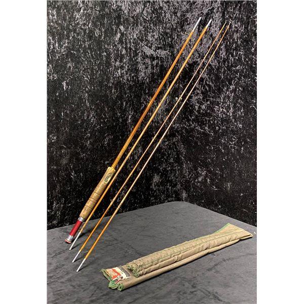 South bend No. 47 vintage 4pc. split cane fishing rod (two tips)