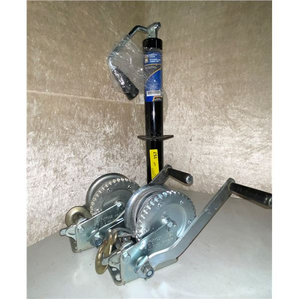 Power fist 2250lb A-Frame trailer jack & two 120lb hand winches