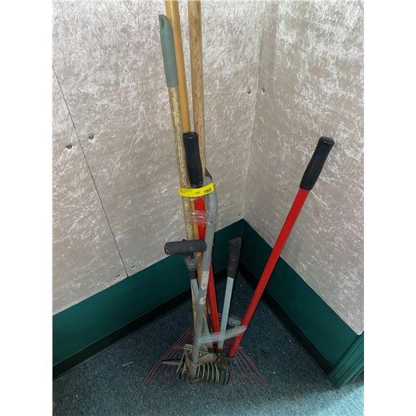 Group of 7 assorted handy yard tools - pruner/weed puller/rake/ etc...