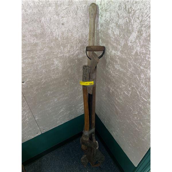 Group of 4 assorted handy yard tools older rustic log roller/axe/ etc....