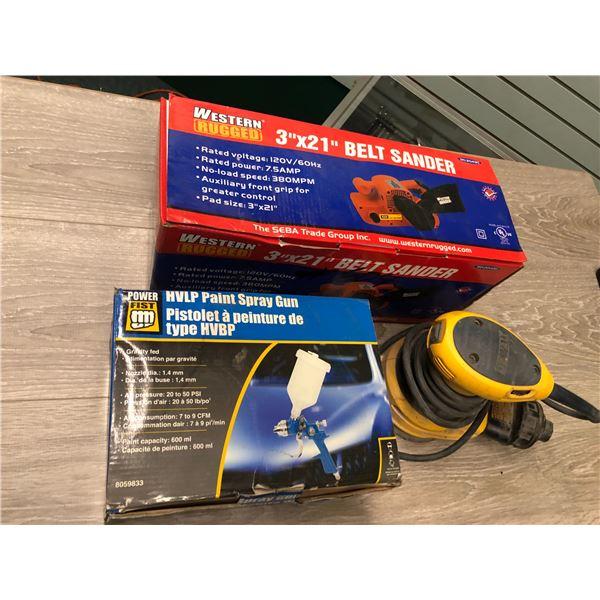 Western rugged belt sander/DeWalt orbital sander - & Power fist hvlp spray gun