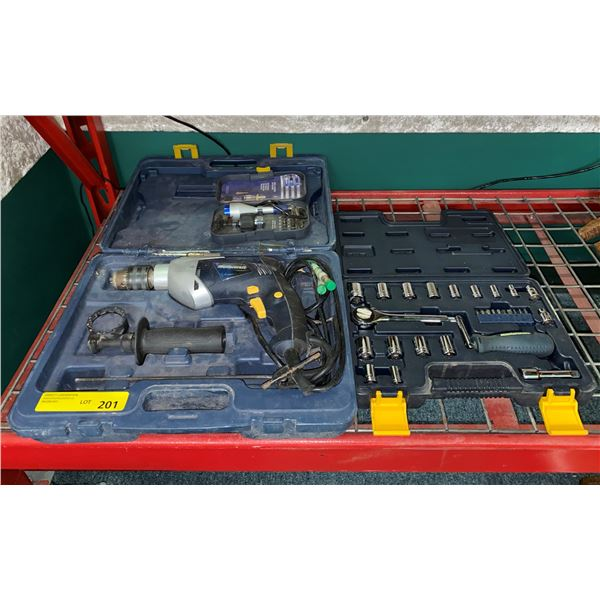 Group of 3 master craft tools sets - electric hammer drill/socket set/small driver set