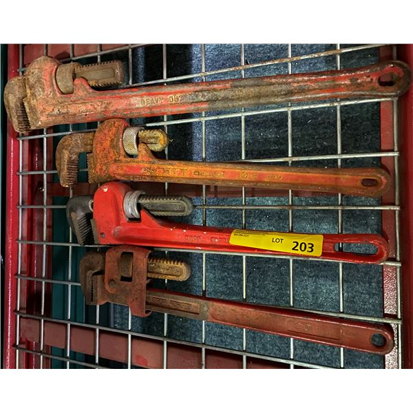 Group of assorted pipe wrenches