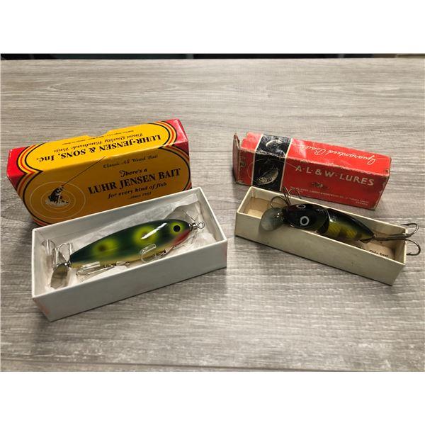 2 Vintage fishing lures w/ original box - lure Jensen bate special nip-i-gittle edition all wood fis