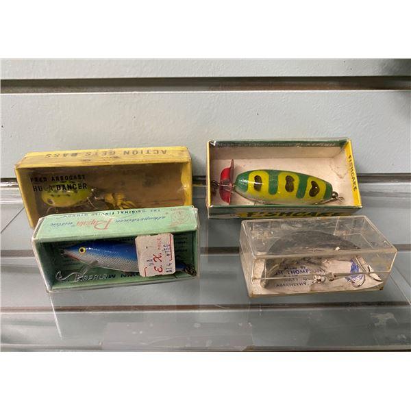 Group of 4 vintage fishing lure w/original box