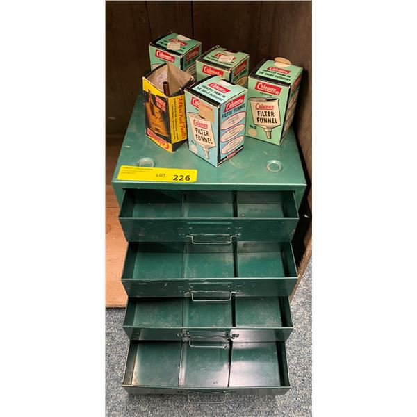 Vintage Coleman camping small green four drawer organizer box & 5 vintage Coleman filter funnels