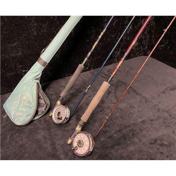 2 Daiwa fly rods w/ 2 Daiwa reels & one rod case