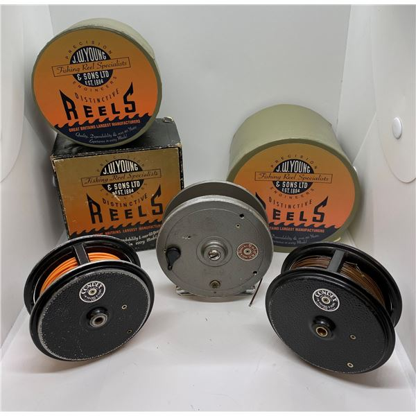 3 J.W. Young & sons fly reels - seldex & 2 condex