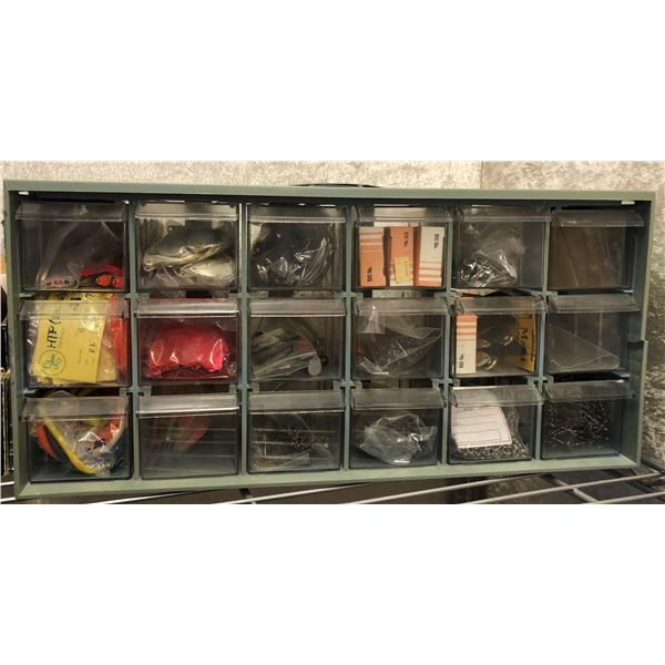 18 tray storage organizer filled w/ fishermans spinner blades/shanks/tools (everything to build your