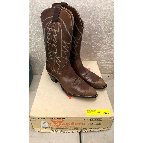 Pair sanders dark brown w/ beige toe tip coco cowboy boots size 11 1/2 (NOS)