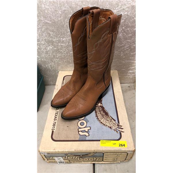 Pair sanders tan cowboy boots size 11 (NOS)