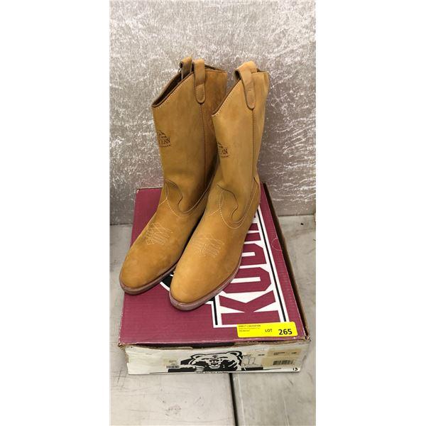 Pair Kodiak tan soft toe cowboy boots size 13 (NOS)