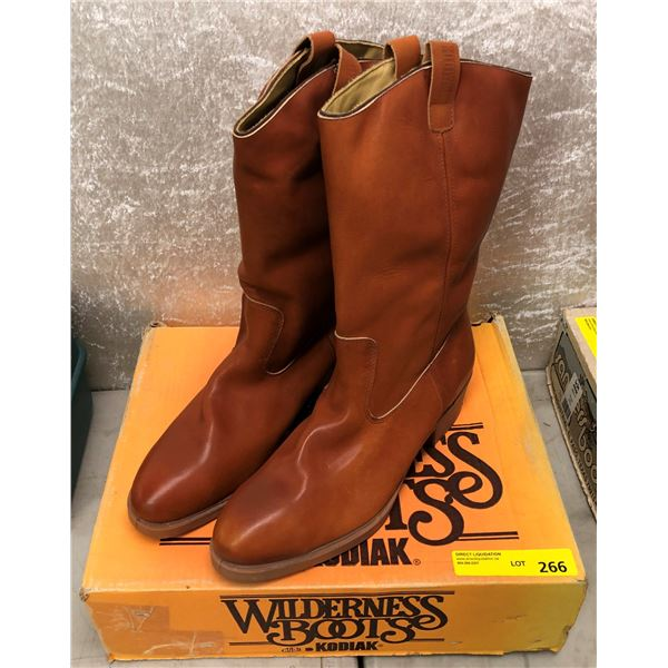 Pair Kodiak safety insulated tan pull-on cowboy boots size 13 (NOS)