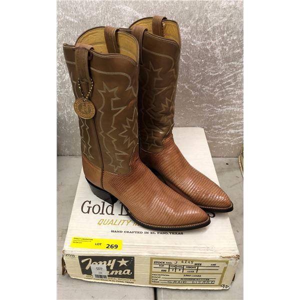 Tony Lama Alhambra kitty tan/sand lizard cowboy boots size 9 (NOS)
