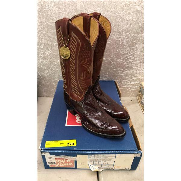 Pair tony lama inca kitty tan/tan eel cowboy boots size 9 (NOS)