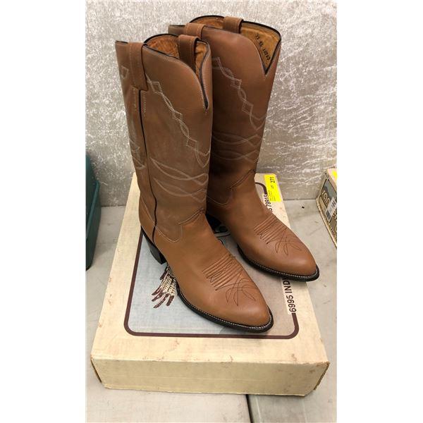 Pair sanders tan mule cowboy boots size 12 (NOS)