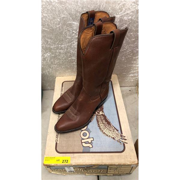 Pair sanders teakwood grained brown cowboy boots size 11 (NOS)