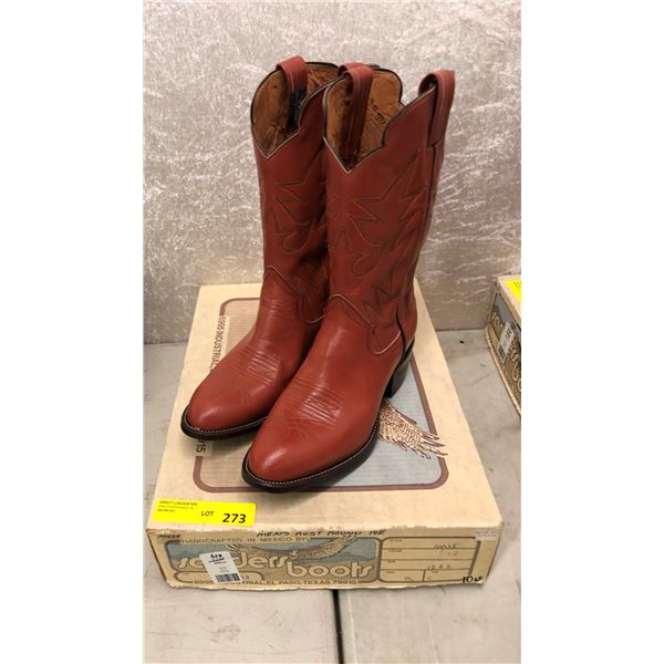 Pair of Sanders men's rust round toe cowboy boots size 10 (NOS)