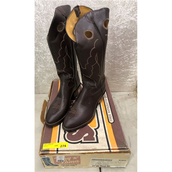 """Pair of Tony Lama burro brown 17"""" round toe cowboy boots size 11 (NOS)"""