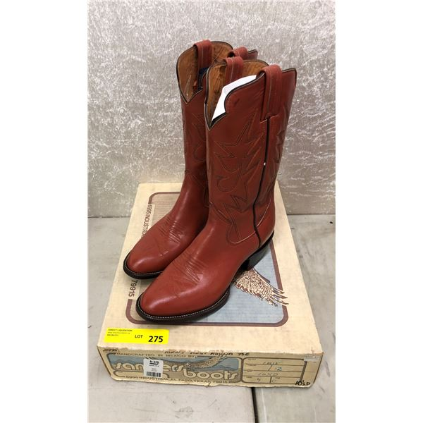 Pair of Sanders men's rust round toe cowboy boots size 10 1/2 (NOS)