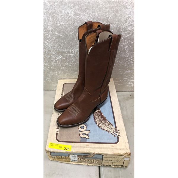 Pair of Sanders brown grained cowboy boots size 11 1/2 (NOS)