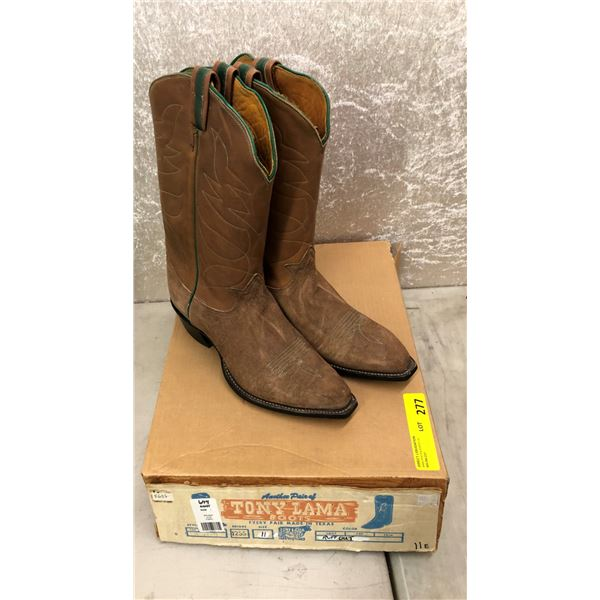 Pair of Tony Lama ruff out brown cowboy boots - size 11 (NOS)