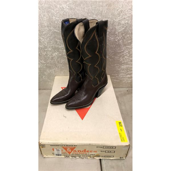 Pair of Sanders chocolate dark brown pointed toes cowboy boots size 6 (NOS)