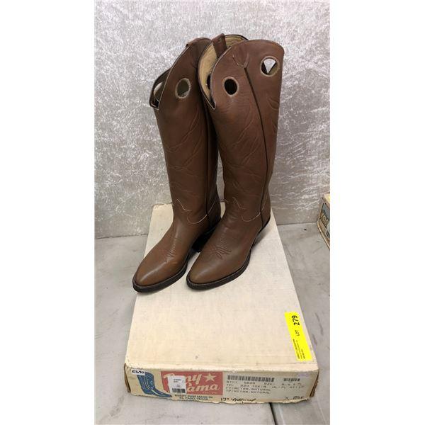 Pair of Tony Lama retan natural cowboy boots size 8 1/2 (NOS)