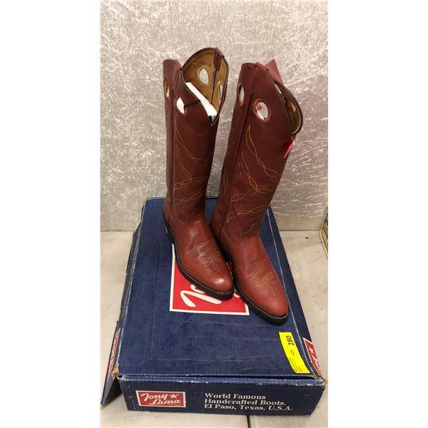 "Pair of Tony Lama 17"" rust cowboy boots size 9 (NOS)"