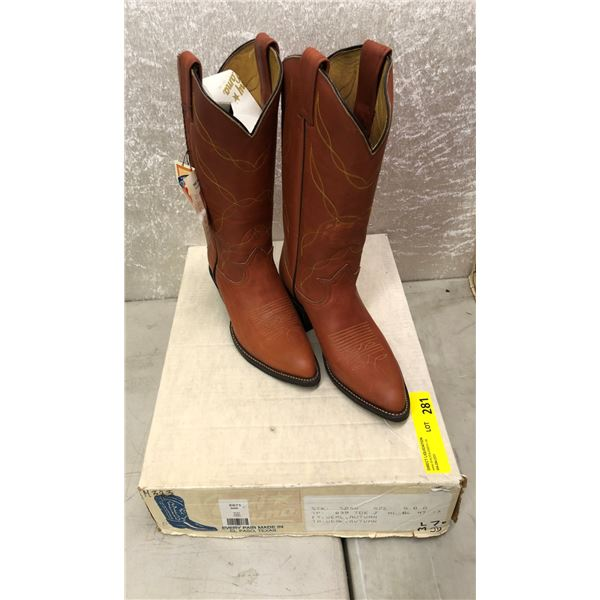 Pair of Tony Lama veal autumn rust cowboy boots size 5 (NOS)