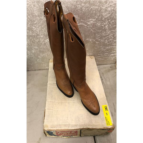 Pair of Tony Lama ladies tan high holes in top cowboy boots size 6 1/2 (NOS)