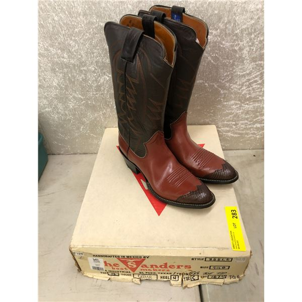 Pair of Sanders seeder/brown toe tip cowboy boots size 9 1/2 (NOS)