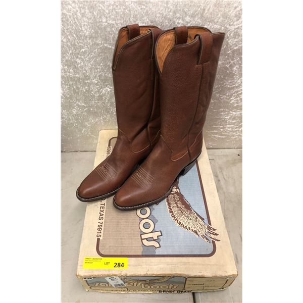 Pair of Sanders brown grained cowboy boots size 10 1/2 (NOS)