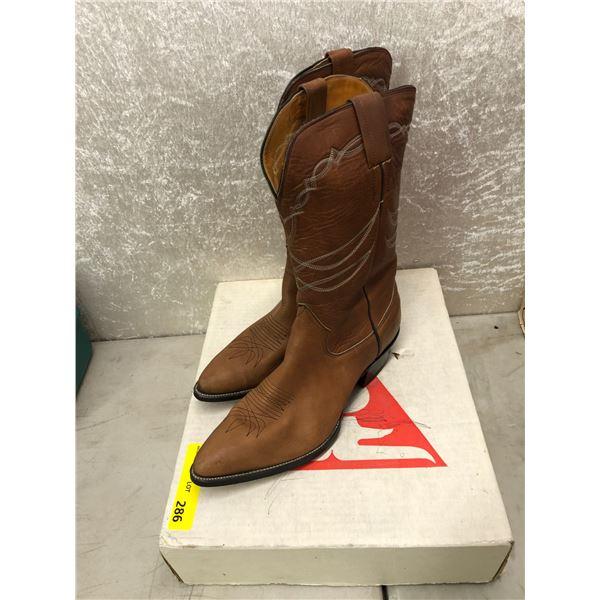 Pair of Sanders redwood mule cowboy boots size 11 (NOS)
