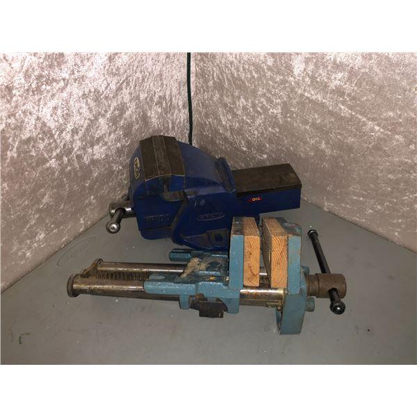Two large bench vises - ERON no.100 mechanics vise & wood workers vise