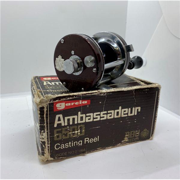 ABU Garcia ambassadeur 6500 maroon level-wind reel w/ box