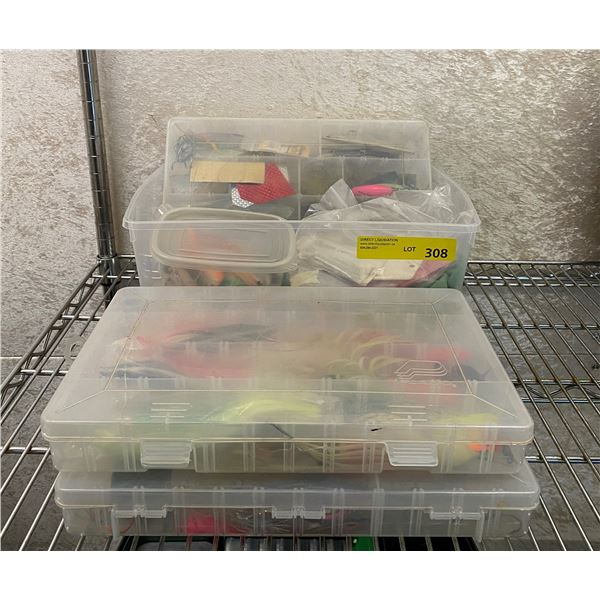 Four boxes of salmon ocean fishing gear - hoochies/ jigs/ spoons/ flashers/ buzzbombs etc.