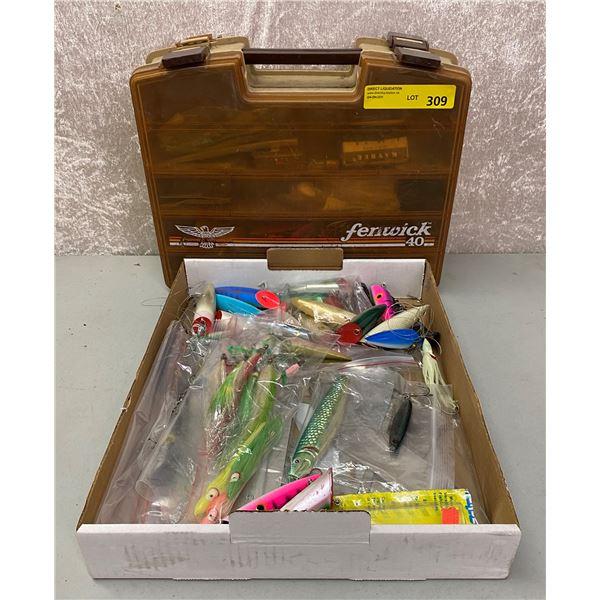 Two boxes of assorted salmon ocean fishing gear - salmon plugs/ jigs/ hoochies/ flashers etc.