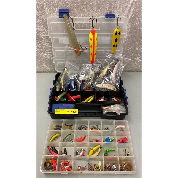 Two boxes filled with assorted vintage flat fish lures & spoons