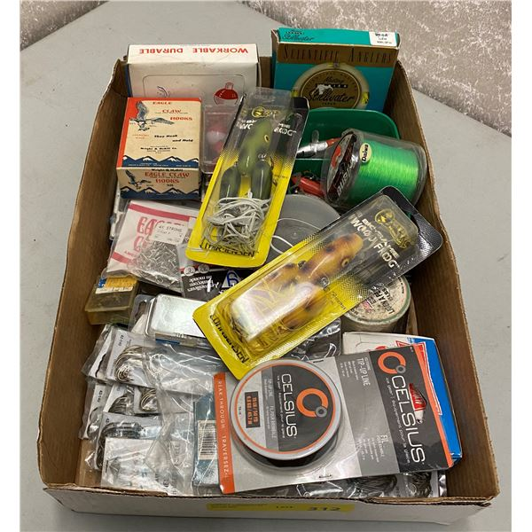 One box of assorted fishing tackle/ hooks/ fishing line/ lure/ flies etc.